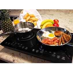 Evergreen Home 1800W Double Digital Induction Cooktop   Port