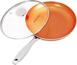 Induction Bottom 9.5 Inches Copper Nonstick Frying Pan with