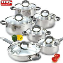 Induction Cookware Set 12 Piece Stainless Steel Cooktop Read