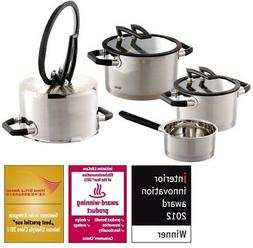 induction cookware set 7pc black pearl stainless