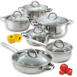 Cook N Home  Kitchen Cookware 12 Piece Stainless Steel Set