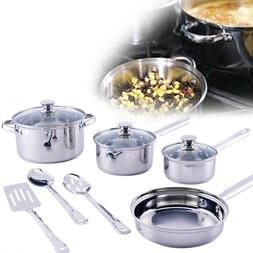 KITCHEN COOKWARE SET 10-Piece Stainless Steel Pot Pan And Ut