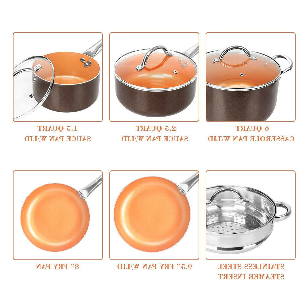 10 Cookware Pan Set Induction Nonstick Chef Skillet Fry Sauce Steamer