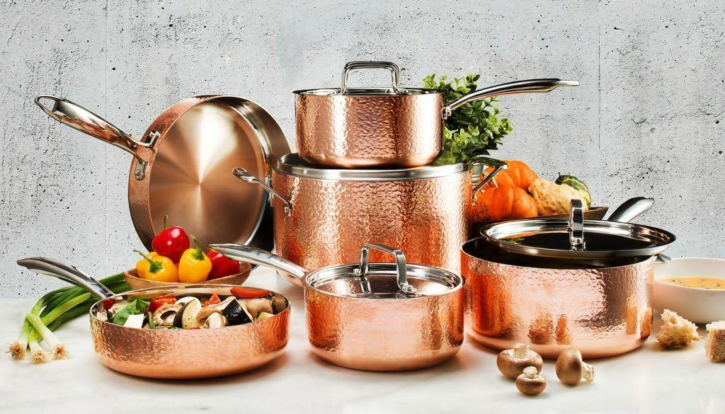 Gotham 10 Hammered Nonstick Copper Set AS on TV! NEW