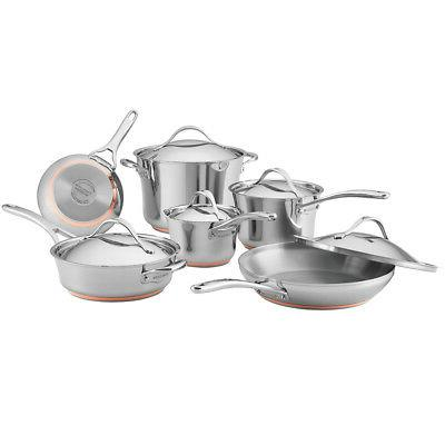 nouvelle copper stainless steel 11 piece cookware