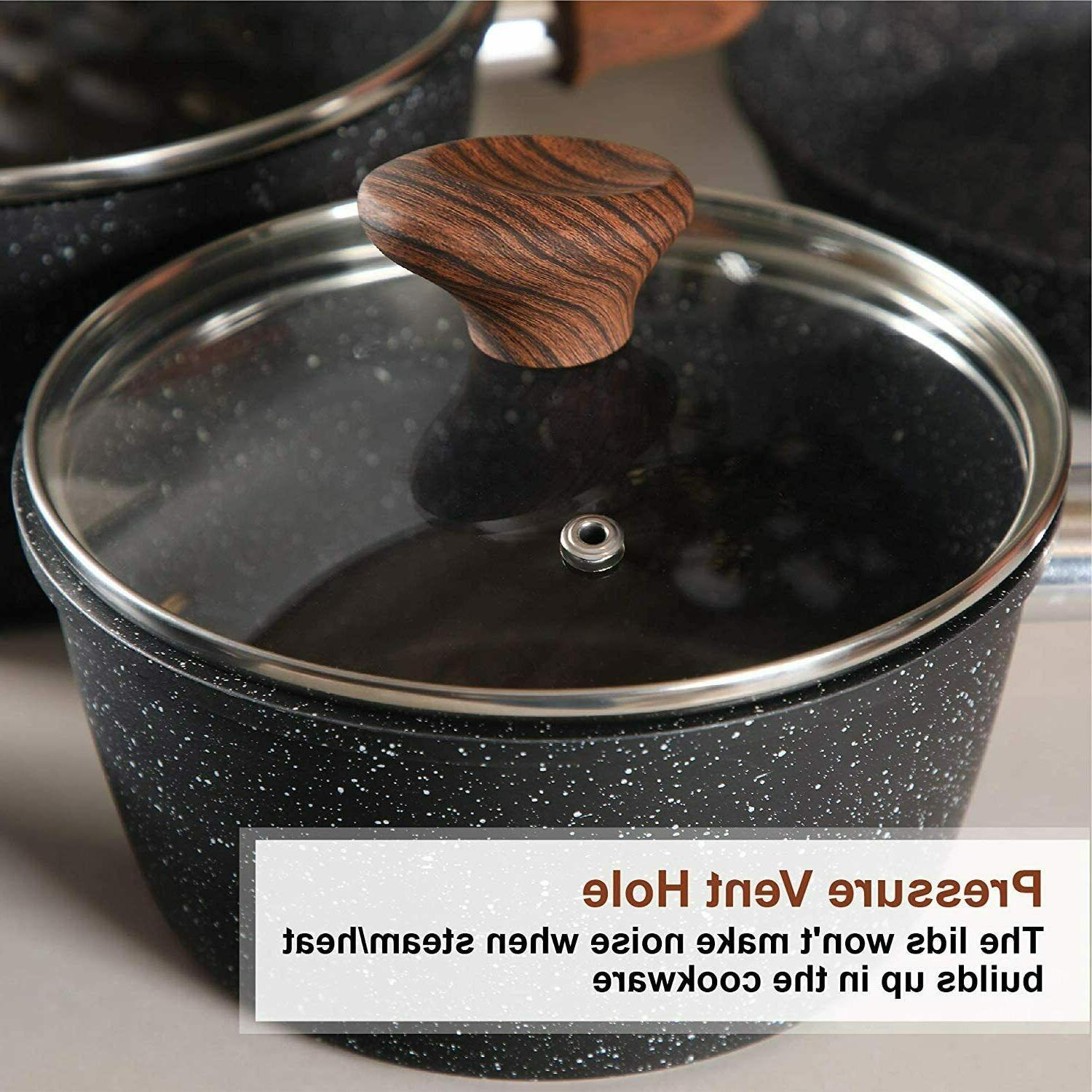 12 Piece Granite-Coated Cookware Set Pots and