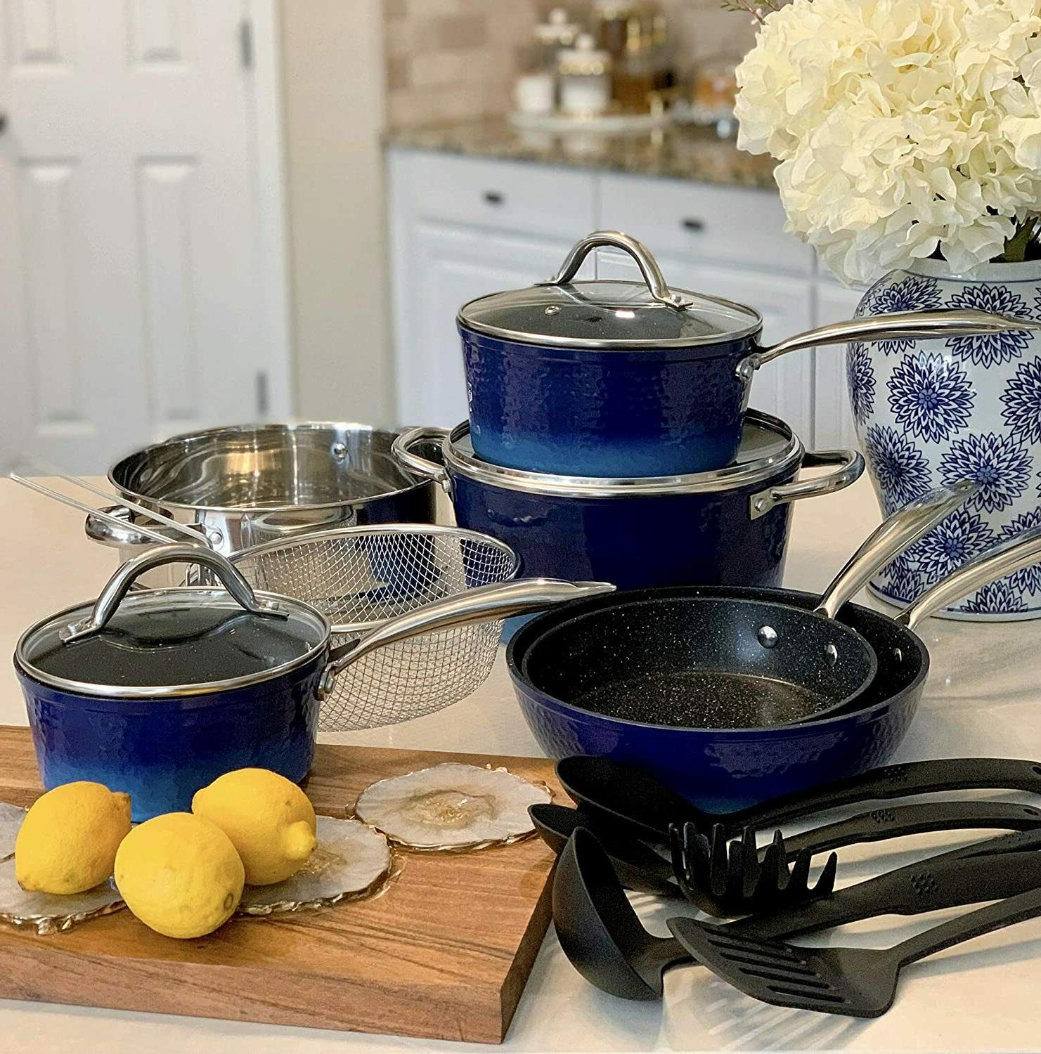 Chefhome 15 Hammered Cookware Set Coated and Pans Set