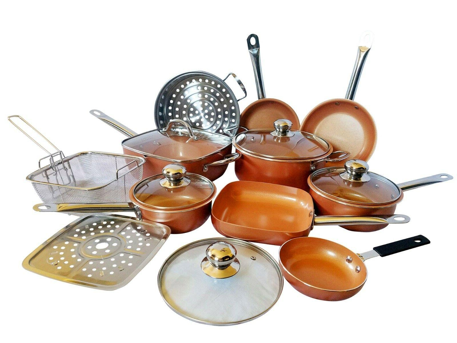 15 piece copper non stick cookware all