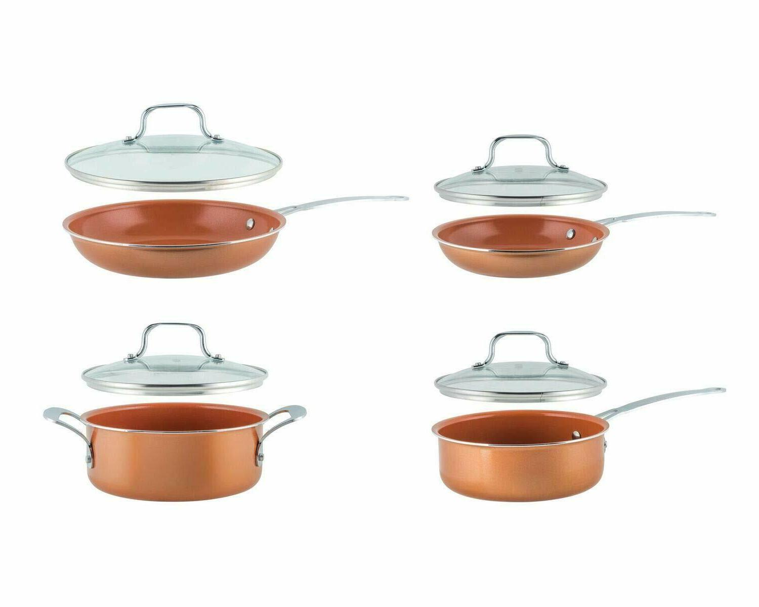 8-Piece Copper Nonstick Alum/Stainless Cookware Set