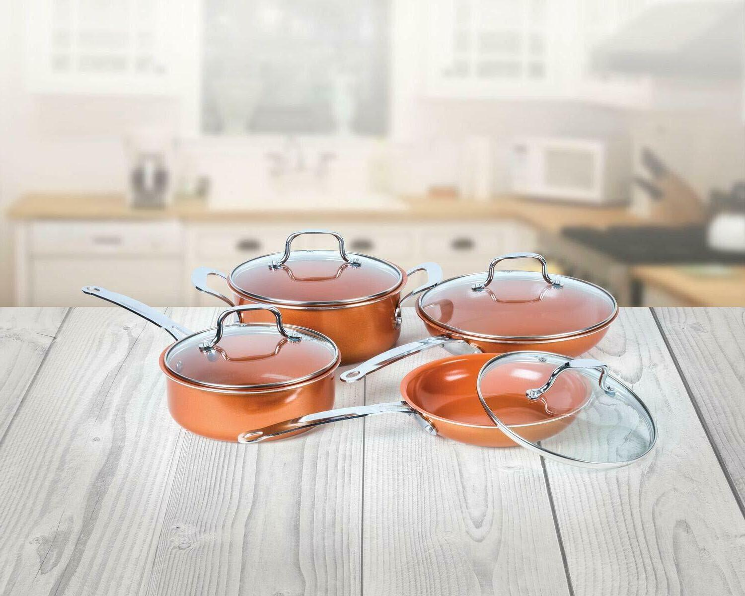 8-Piece Copper Induction Nonstick Coating Alum/Stainless Cookware Set