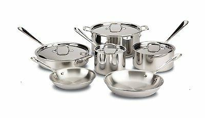 All-Clad D3 Tri-Ply Bonded Cookware Set, Pots and Pans Set,