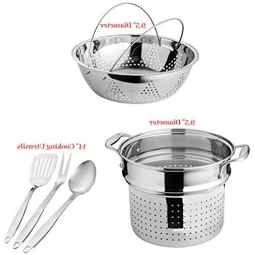 Chef's Star Stainless Steel Pots and Pans, 17 Piece Induction Cookware Set - Non stick & Oven Technology Kitchenware, Utensils -