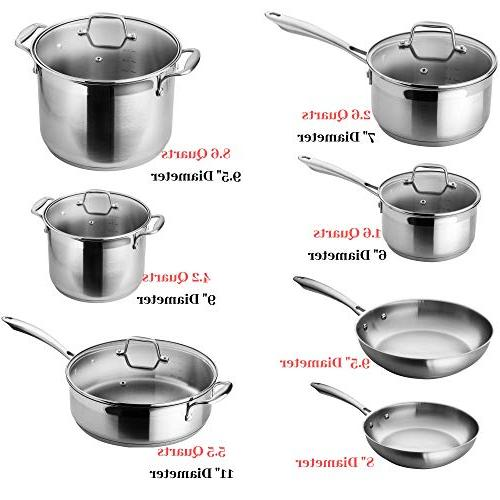 Chef's Star Pots and 17 Piece Induction - stick & Oven Safe with Technology - Silver