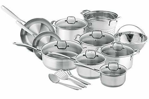 Chef's Star Stainless Steel Pots and Pans, 17 Piece Inductio