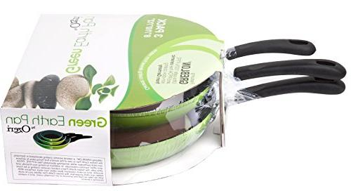 Green Earth Frying Pan 3-Piece Set , Non-Stick from