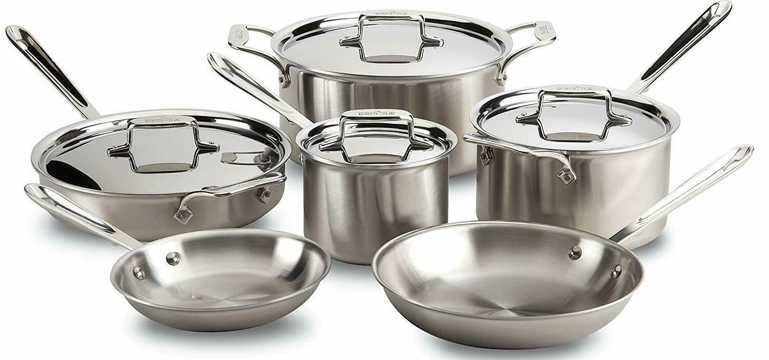 All-Clad D5 Stainless 5-Ply Dishwasher Safe Cookware Set, 10-Piece,