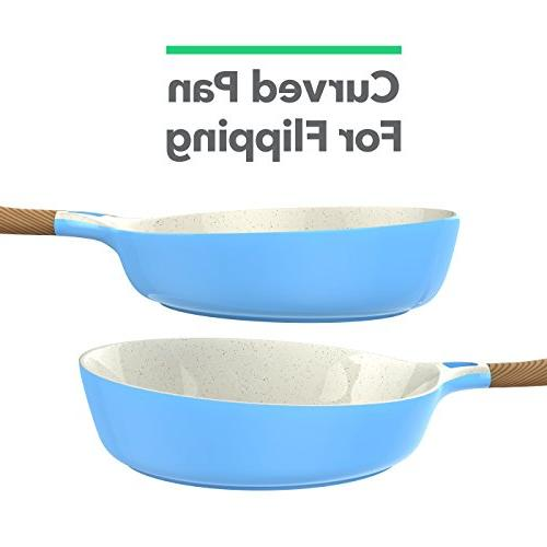 Vremi Piece Ceramic Nonstick Induction Compatible Dishwasher Safe Non Stick and Frying Lids - Oven Pot Fry for - PTFE PFOA Free