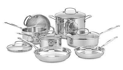 chef s classic stainless 11 piece cookware
