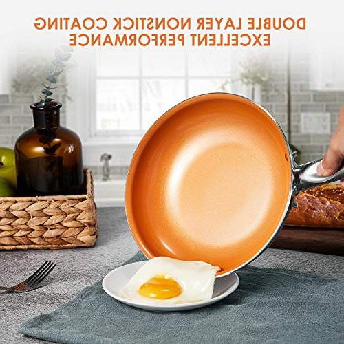 Cookware Set, 10-Piece Non Induction Copper and Pans Set Induction Dishwasher and Oven