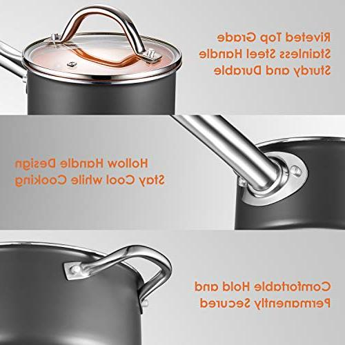 Cookware Set, 10-Piece Non Stick Cookware, Copper Set Induction Bottom, Dishwasher and Oven Safe