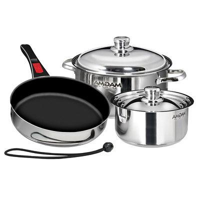 Magma Products, A10-363-2-IND, Gourmet Nesting Steel Induction Cookware Set Ceramica