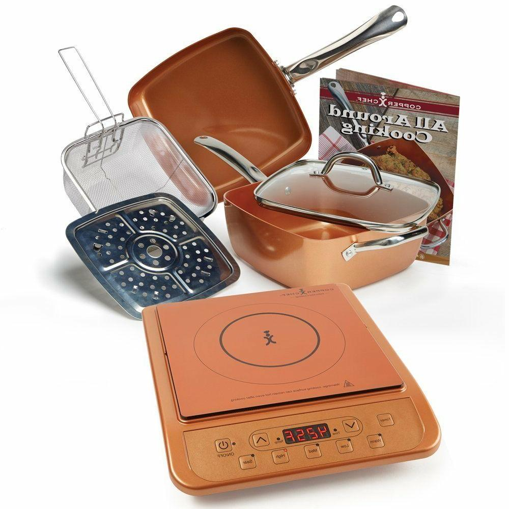 top induction cooktop with 6 piece cookware