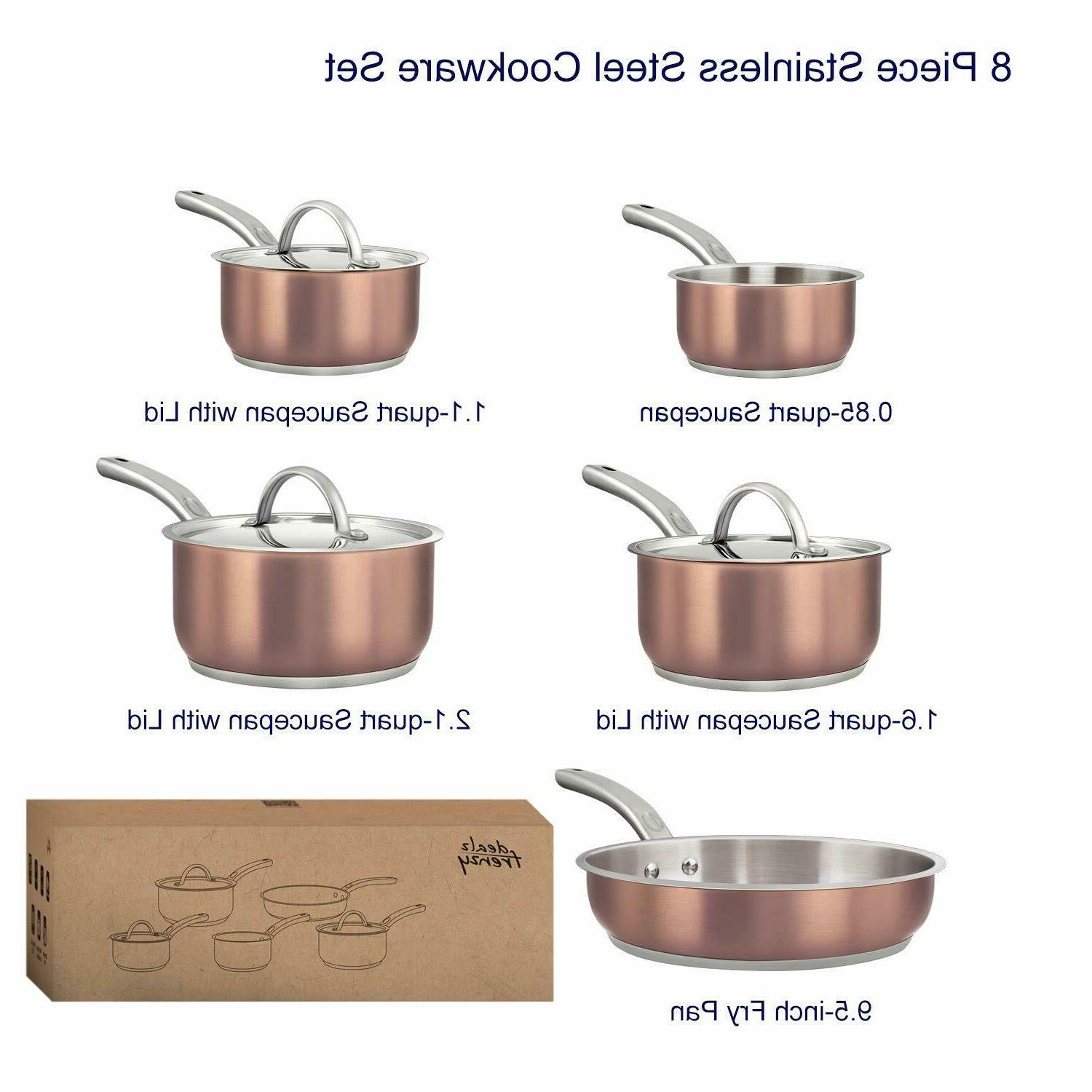 Tri-Ply Copper Cookware Sets - Bottom Rustproof Oven