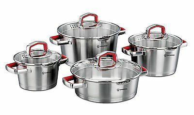 Korkmaz Vertex 8 Piece Cookware Set, Red