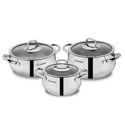 KORKMAZ Mona Stainless Steel Cookware Set, Cooking Pots with