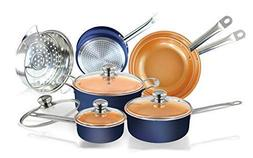11pc Navy Blue copper ceramic coated pots and pans cookware