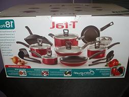 Non Stick Cookware Set 18 Piece T-Fal Red Kitchenware Utensi