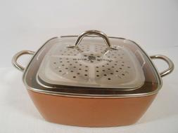 "Non-Stick Copper Titanium Chef 4 Piece 9.5"" Square Pan Set -"