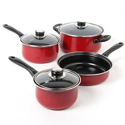 Nonstick 7-Piece Pots And Pans Stainless Steel Cookware Set