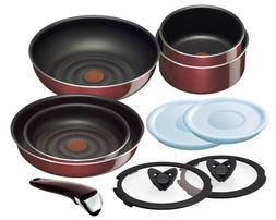 "T-fal pan frying pan set Noble Red set 10 taking.""Ingenio Ne"