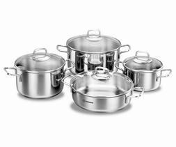 Korkmaz Perla 8 Piece High-End Stainless Steel Induction-Rea