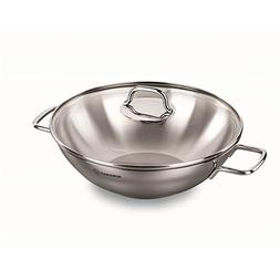 Korkmaz Perla Stainless Steel Induction-Ready Wok with Tri-P