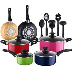 Cooksmark 15-Piece Nonstick Cookware Set-Multicolor Kitchen