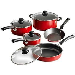 9-Piece Red Simple Cooking Nonstick Stay-Cool Handles Rivete