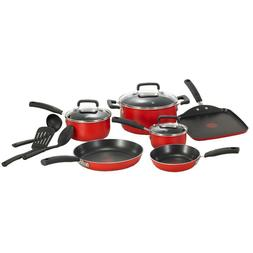 T-Fal Signature Total Non-Stick 12-piece Cookware Set, Red,