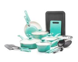 GreenLife Soft Grip 18 Piece Turquoise Healthy Ceramic Non-s