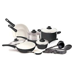 GreenLife Soft Grip 16pc Ceramic Non-Stick Cookware Set, Bla