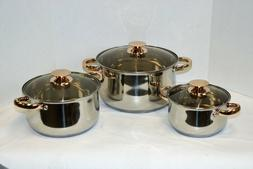 stainless steel 6 piece cookware set designed