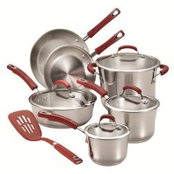 Rachael Ray Stainless Steel 11-Piece Cookware Set, Red