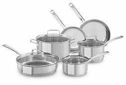 KitchenAid Small 10pc Stainless-Steel Cookware Set | Polishe