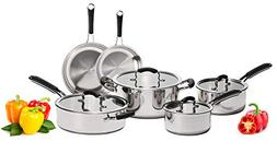 Stainless Steel Pots and Pans Set: 10 Piece Titan Cookware T
