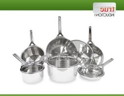 True Induction TIGOURMET 10-piece Tri-ply Stainless Steel In