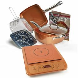 Top Copper Chef Induction Cooktop with 6 Piece Cookware set