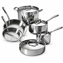 Tramontina 10-Piece Tri-Ply Clad Cookware Set, Stainless Ste