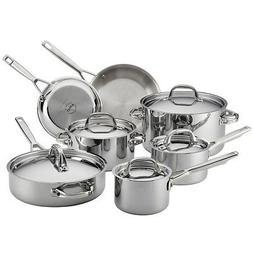 Anolon Tri-Ply Clad Stainless Steel 12-Piece Cookware Set in