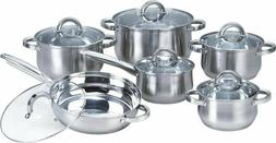 W-001 12-Piece Induction Ready Stainless Steel Cookware Sets